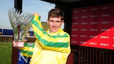 Jockey Gary Carroll celebrates winning the Tote Irish Lincolnshire at Naas aboard Brendan Brackan.
