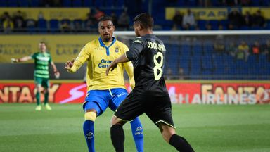 Kevin Prince Boateng (yellow shirt) scored the winning goal for Las Palmas against Villarreal