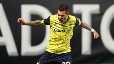 Oxford United's Marvin Johnson celebrates scoring their first goal