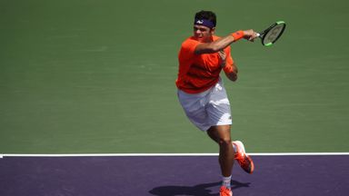 Milos Raonic eased back into action with a routine victory over Viktor Troicki in Miami