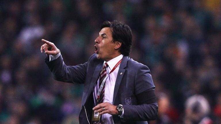 Chris Coleman manager of Wales gives instructions during the FIFA 2018 World Cup Qualifier between Republic of Ireland and Wales