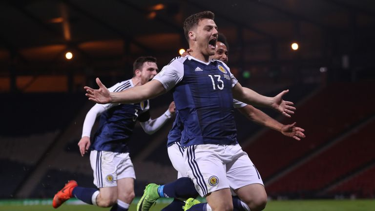 Chris Martin of Scotland celebrates after he scores during the FIFA 2018 World Cup Qualifier between Scotland and Slovenia at