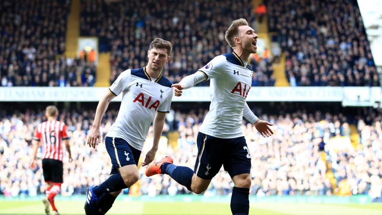 Tottenham Hotspur's Christian Eriksen celebrates scoring his side's first goal of the game during the Premier League match at White Hart Lane, London.