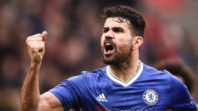 Diego Costa celebrates Chelsea's second goal against Stoke City