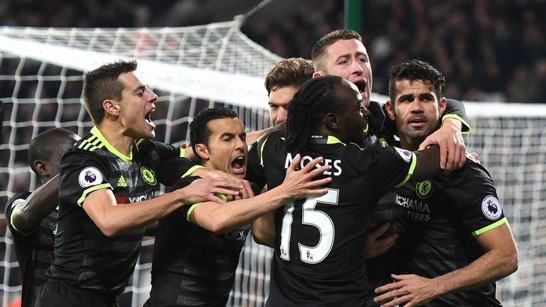 Diego Costa celebrates his Chelsea goal against West Ham
