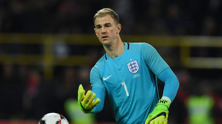 England's Joe Hart plays the ball during a friendly football match between Germany and England on March 22, 2017