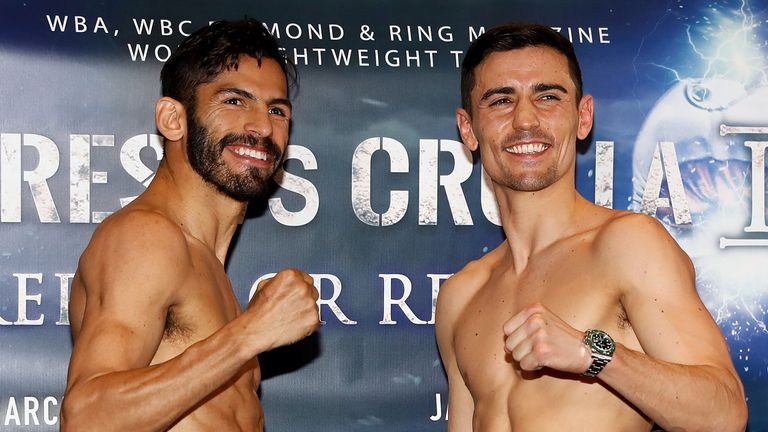 Jorge Linares and Anthony Crolla smile during the weigh-in at the Radisson Edwardian Hotel in Manchester.