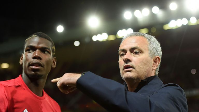 Jose Mourinho gestures towards Paul Pogba ahead of the Europa League group A match Zorya Luhansk at Old Trafford