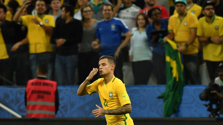 Brazil's midfielder Philippe Coutinho celebrates after scoring against Paraguay during their 2018 FIFA World Cup qualifier football match in Sao Paulo, Bra