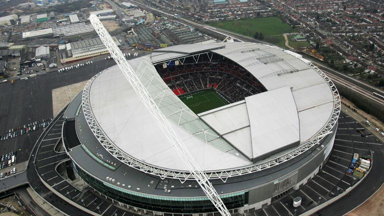 LONDON - MARCH 24:  An aerial view of the new Wembley Stadium during the England U21 v Italy U21 friendly match on March 24, 2007 in London, England  (Phot