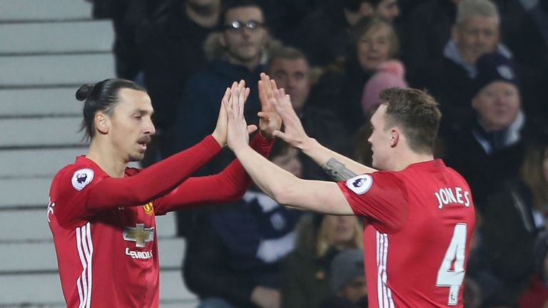 Zlatan Ibrahimovic and Phil Jones celebrate a Manchester United goal