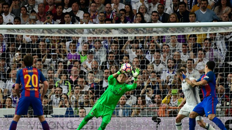 Real Madrid's Keylor Navas had a busy evening in goal