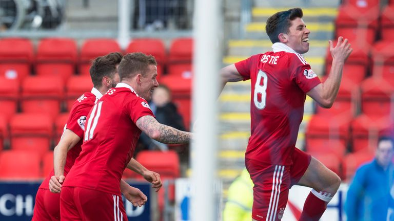 Ryan Christie celebrates  putting Aberdeen in front at McDiarmid Park