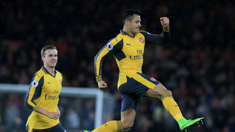 Arsenal's striker Alexis Sanchez celebrates an important win