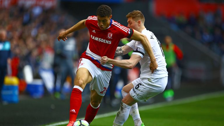 Rudy Gestede (left) vies with Swansea's Alfie Mawson at the Liberty Stadium
