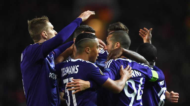 Sofiane Hanni celebrates the equaliser with team-mates