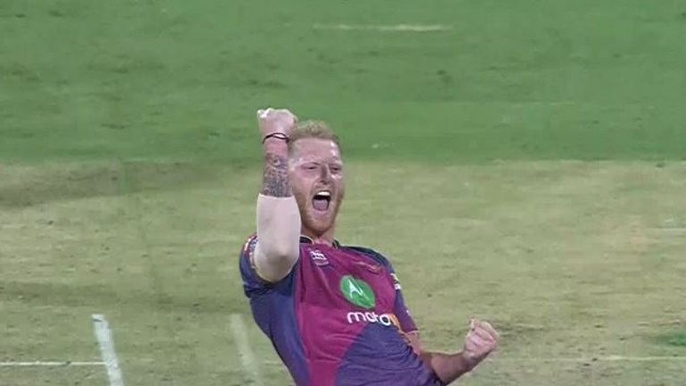 Ben Stokes celebrates one of his three wickets in a week two win over RCB