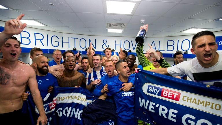 Brighton had their promotion confirmed following Huddersfield's draw at Derby