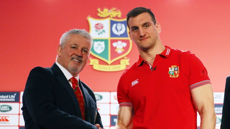 Warren Gatland shakes hands with Sam Warburton during the British and Irish Lions tour squad announcement