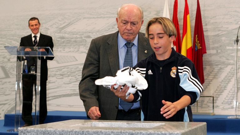 A 12-year-old Dani Caravajal lays the first stone at Valdebebas in 2004