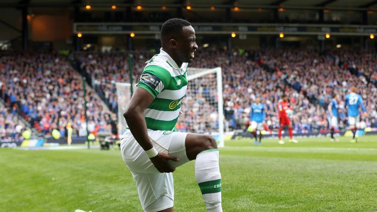 Moussa Dembele was forced off with a hamstring injury at Hampden Park