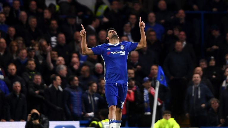 Diego Costa celebrates scoring Chelsea's fourth against Southampton