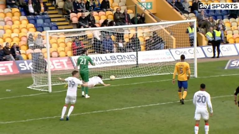 Mansfield Town goalkeeper trips Luton Town striker Danny Hylton after he scores penalty at One Call Stadium