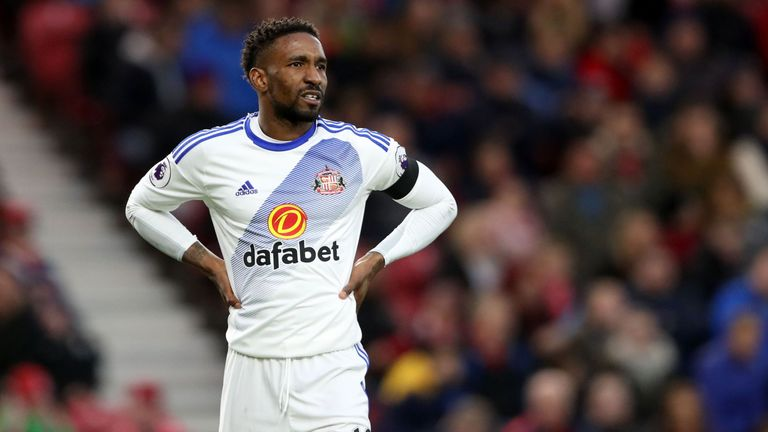 Jermain Defoe looks on during Sunderland's match at Middlesbrough