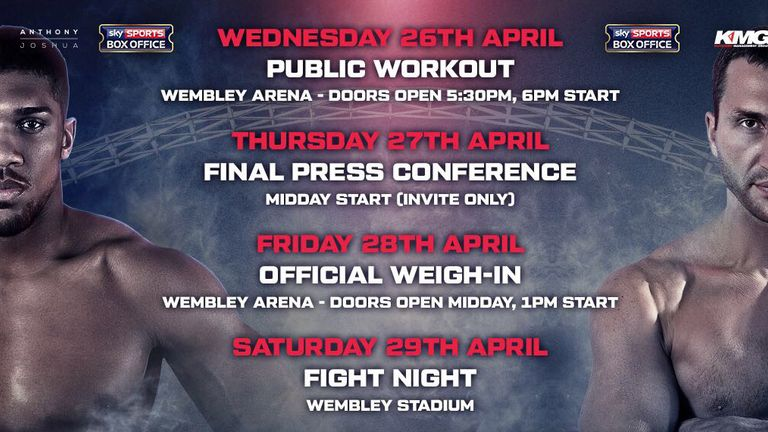 Here are the main Joshua vs Kitschko events