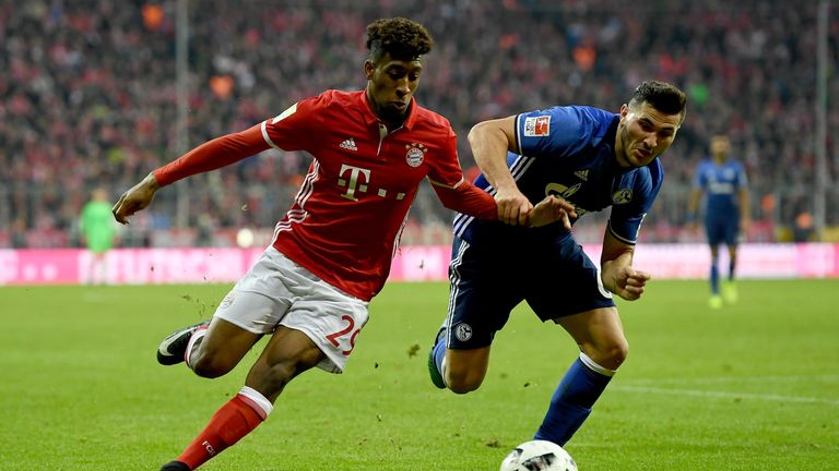 Kingsley Coman (L) and Kolasinac battle for the ball