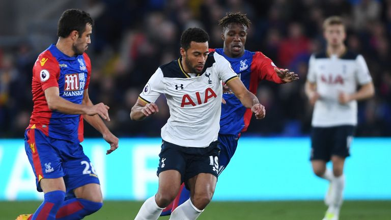 Mousa Dembele and Wilfried Zaha battle for the ball during the Selhurst Park encounter
