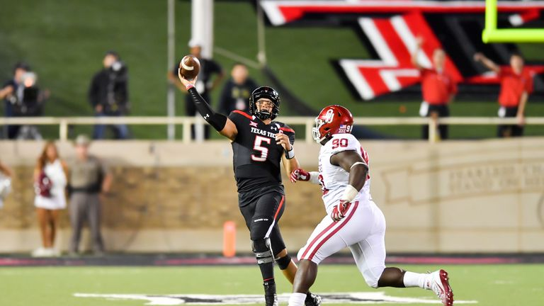 Texas Tech Patrick Mahomes (#5) has been rising up the boards of many  Draft analysts