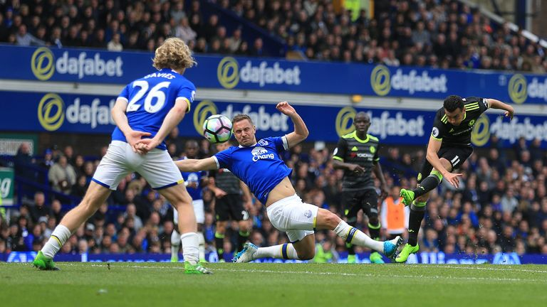 Chelsea's Pedro opens the scoring at Goodison Park