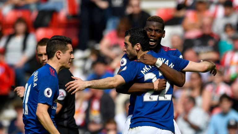 Paul Pogba congratulates Henrikh Mkhitaryan after he scored Man Utd's second goal