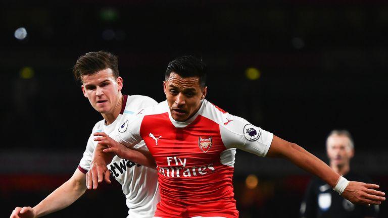 Sam Byram puts pressure on Alexis Sanchez