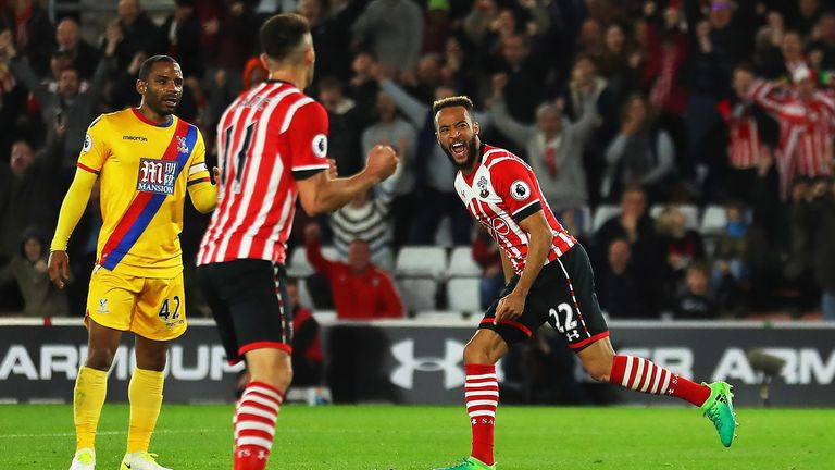 Nathan Redmond (right) celebrates his equaliser for Southampton