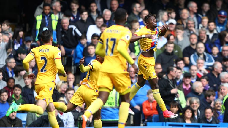 Wilfried Zaha celebrates scoring his side's first goal