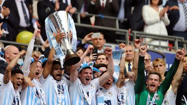 Coventry City celebrate winning the Checkatrade Trophy final against Oxford United at Wembley in April