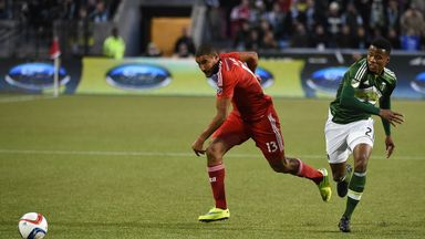 Tesho Akindele (left) scored the late winner for FC Dallas against Portland Timbers