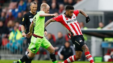 Jurgen Locadia (right) was the match-winner for PSV Eindhoven against Ajax