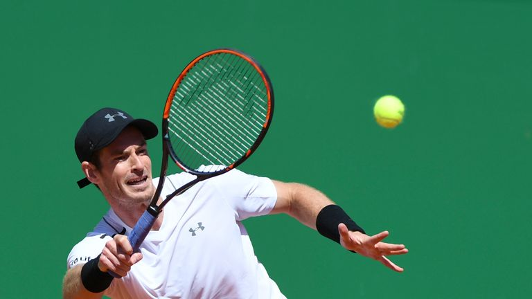 Britain's Andy Murray hits a return to Spain's  Albert Ramos-Vinolas during their Monte-Carlo ATP Masters Series tennis tournament on April 20, 2017 in Mon