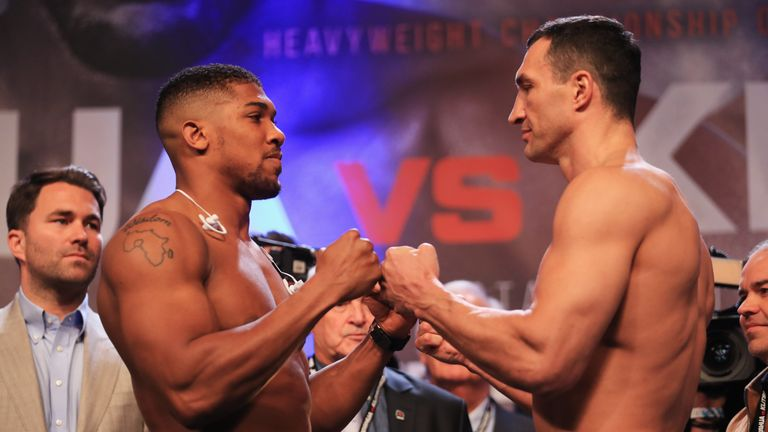 LONDON, ENGLAND - APRIL 28:  Anthony Joshua and Wladimir Klitschko face each other during the weigh-in prior to the Heavyweight Championship contest at Wem