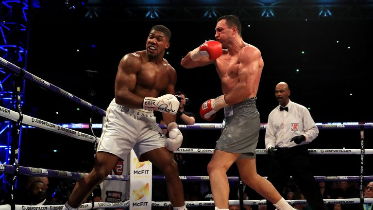 LONDON, ENGLAND - APRIL 29:  Anthony Joshua and Wladimir Klitschko in action during the IBF, WBA and IBO Heavyweight World Title bout at Wembley Stadium on