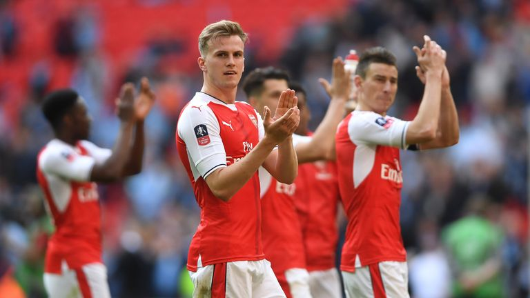 LONDON, ENGLAND - APRIL 23:  Rob Holding and Arsenal players applaud supporters after the Emirates FA Cup Semi-Final match between Arsenal and Manchester C