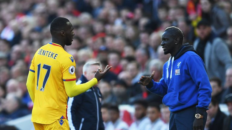 Christian Benteke (left) celebrated with Mamadou Sakho after scoring against Liverpool