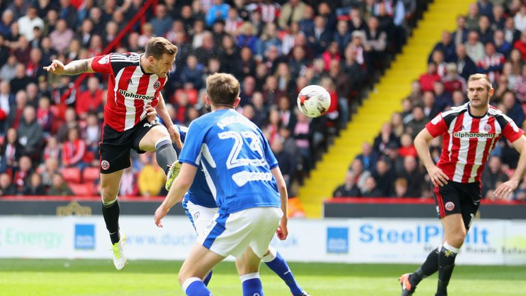 Billy Sharp, Captain of Sheffield United scores the second goal during the Sky Bet League One match v Chesterfield