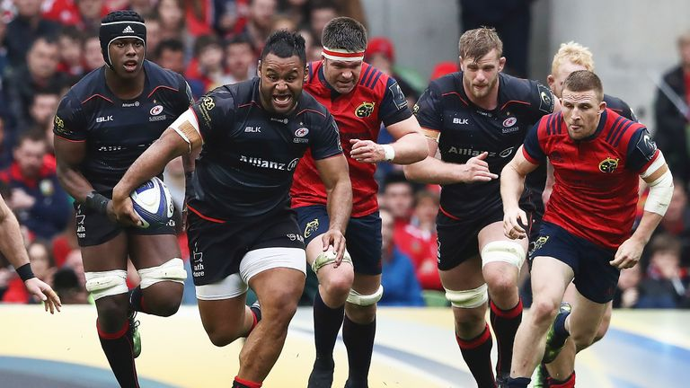 Billy Vunipola breaks during the European Rugby Champions Cup semi-final against Munster