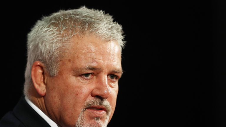Warren Gatland speaks to the media during the British and Irish Lions squad announcement