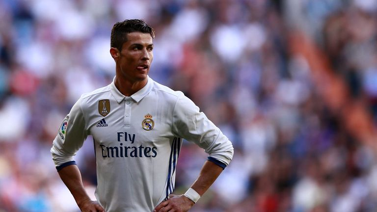 Cristiano Ronaldo of Real Madrid CF reacts during the La Liga match between Real Madrid CF and Deportivo Alaves