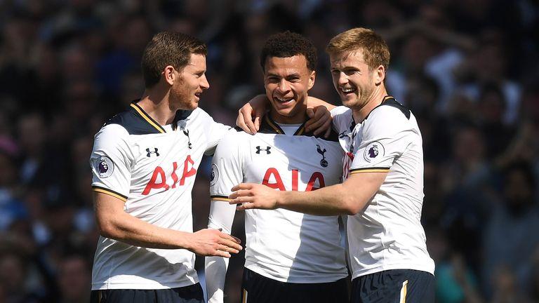 Dele Alli celebrates scoring for Tottenham against Watford with Jan Vertonghen (left) and Eric Dier